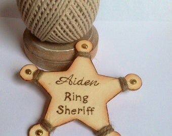 Personalized Ring Bearer Badge - Ring Bearer Gift, Cowboy Birthday Badge.