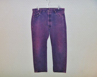 Vintage 1980's Acid-Washed Levi's 501 Jeans Button-Fly and 5 Pocket Cut Waist 36
