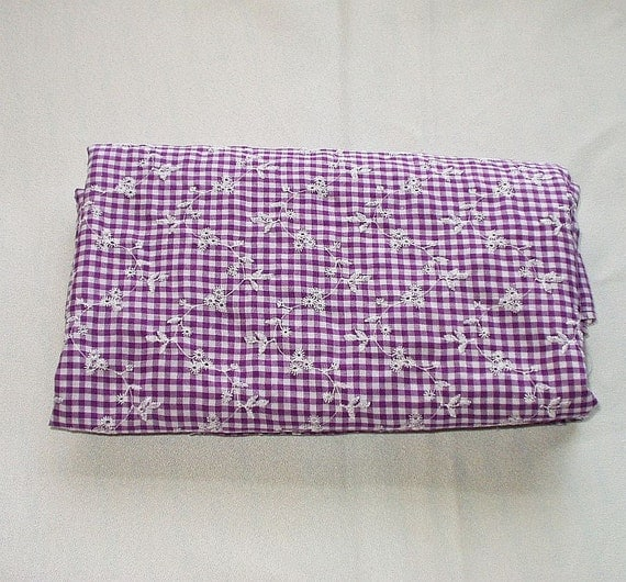 Cotton fabric purple gingham check with by inheritedtraits