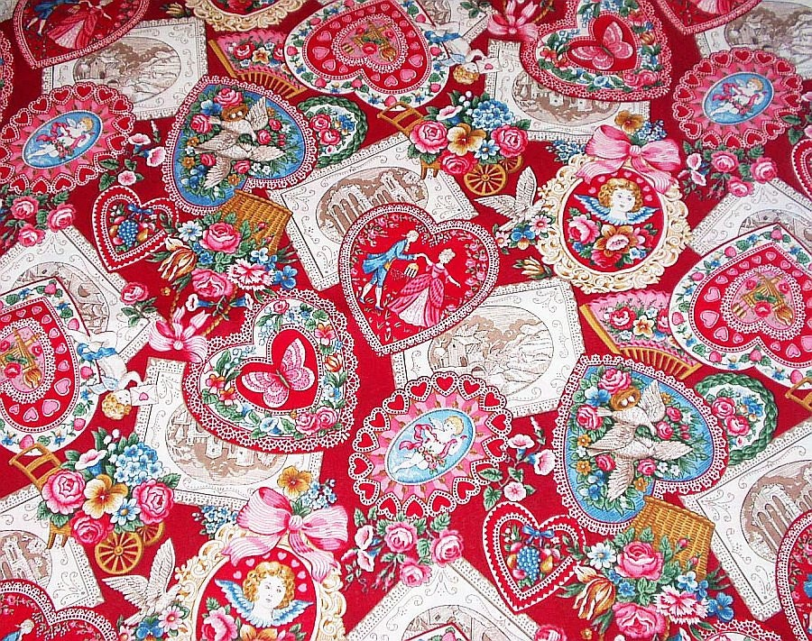 VIP Cranston Valentine Fabric Hearts Cupid Cotton 2.5 Yards