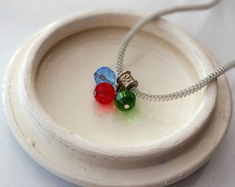 Glass Bead Necklace, Three Bead Necklace, Silver Chain Necklace, Trinity Necklace, Green, Red and Blue Crystals in the Silver Necklace