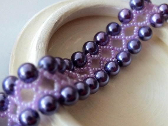 Pearl Bracelet, Hand Beaded Aubergine Purple Bracelet with Ribbon, Spring Fashion, Spring Jewelry, Handmade Bracelet