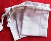 100 White cotton bags - 4×6 with white cotton cord
