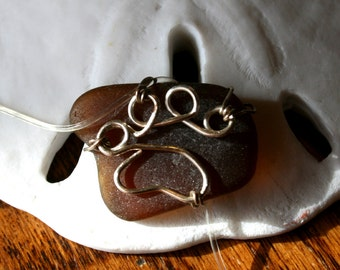 Paw Print Sea Glass Silver Brown Amber Necklace Pendant