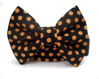 Halloween Polka Dot Bow Tie Dog Collar Orange Black