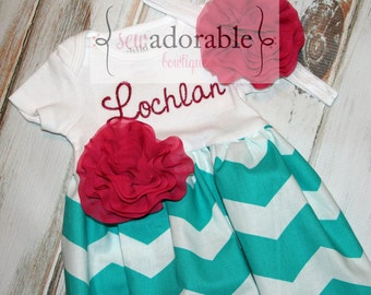 Turquoise Chevron Baby Gown - Great Coming Home Outfit - Sew Adorable Bowtique - FREE MONOGRAMMING