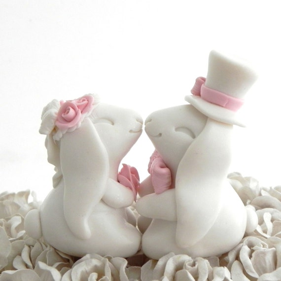 bunny wedding cake topper items similar to bunny wedding cake topper white and 12223