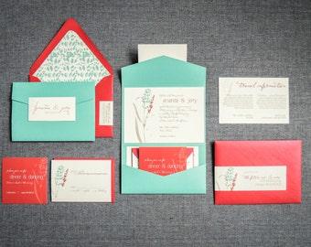 "Red Rustic Invitations, Turquoise Wedding Invitations, Barnyard Invitations, Blue and Red Floral Invitations - ""Graceful Botanic"" PF-NL-v3"