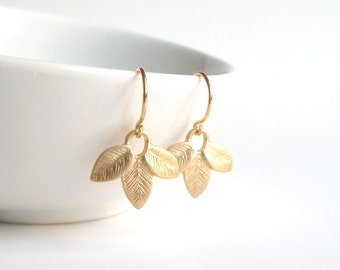 Gold Leaves Earrings - small simple matte gold plated leaflet trio dangle on delicate little French ear hooks - bridesmaid / wedding jewelry