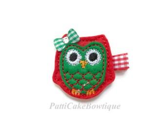 Baby Girls Santa Owl Hair Clip, Christmas Owl Hair Clip, Baby Hair Clip, No Slip Hair Clip, Alligator Hair Clip, Stocking Stuffer, 10