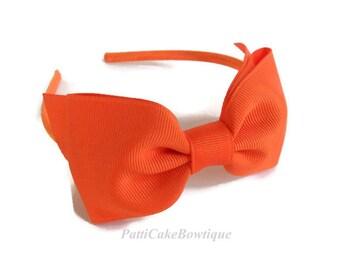 Big Bow Headbands/Girls Headbands/Denver Broncos Headband/Halloween Plastic Headband/Toddler Headband/Orange Hair Bows/Kids Headbands