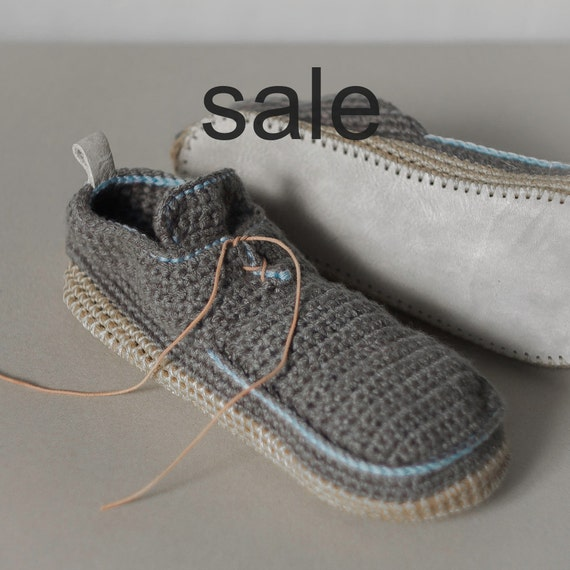 Sale - Crochet House Shoes with Leather Sole in mouse grey - above the ankle - US W 7 1/2 (EUR 38-39) - 15% off - Ready to Ship SALE