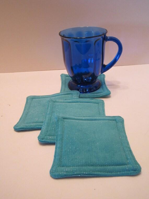 CLEARANCE - Teal Fabric Drink Coasters Mug Rugs Set of 4