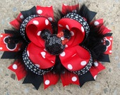 Boutique hair bow Minnie Mouse Hair Bow hair clip Feather Hair Bow Rhinestone Necklace Red and Black Minnie Mouse