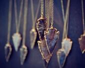 ARROWS /// Electroformed Gemstone Arrowhead /// Gold