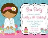 Spa Birthday Party Invitation Spa Birthday Spa party Invitation
