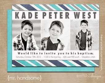 lds baptism invitation, boy baptism invitation, printable baptism announcement - digital baptism invitation - mr. handsome