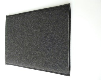 MacBook Air 13 sleeve, MacBook Air 11 sleeve, wool felt cover is portrait design  - 100% pure charcoal wool felt made in Germany