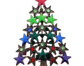 Multi-Colored Star Christmas Tree Pin Brooch 1002201
