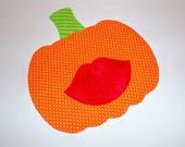 Iron On Applique Halloween Orange LIPS PUMPKIN...Fall Or Harvest