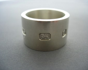 Heavy large hallmarks solid sterling siver ring