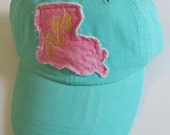Custom order for Brooklyn Boudreaux - Louisiana Monogrammed Baseball Cap Personalized Hat Bridesmaid Birthday Gift