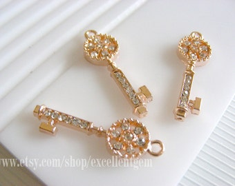 Sale-5pcs-Loverly Key Pendant- Rose gold tone with clear Rhinestone Connector,pendant-12*29mm