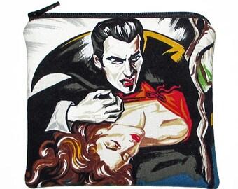Dracula Vampire Classic Horror Movie Square Zipper Pouch Coin Purse