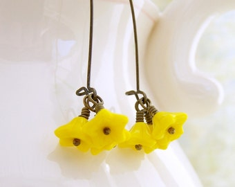 Five Petal Yellow Flower Earrings - Czech glass beads & antique brass kidney ear wires - Yellow Earrings