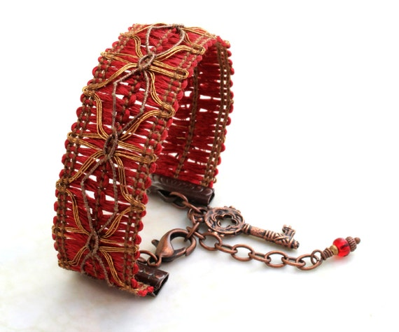 Red Trim Bracelet - Medieval inspired Red with copper and silver accents - Ribbon Bracelet - Made to Order