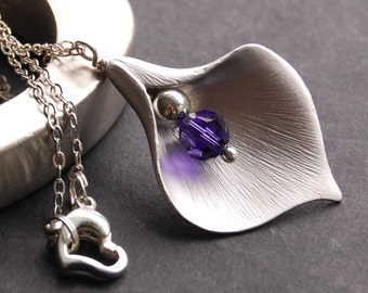 Silver Calla Lily Necklace, Pendant Necklace, Purple Swarovski Crystal, Silver Calla Lily Flower Charm, Custom Color
