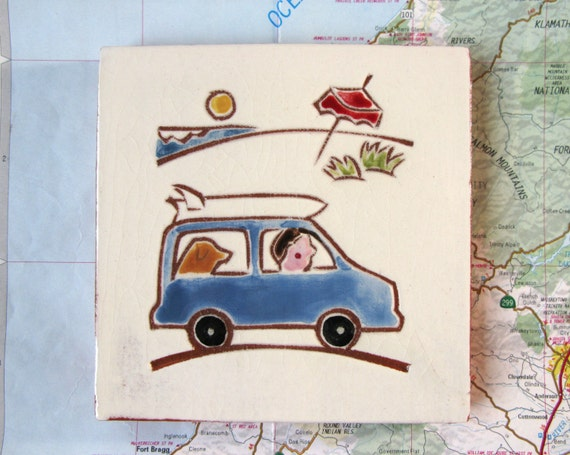 """Blue SUV  Surfing Guy and his dog head to the beach, handmade ceramic tile, trivet or wall hanging 4""""x 4"""""""