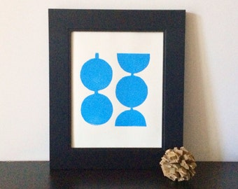 Retro Modern Geometric Circles in LIght Blue Linocut Art Print 8 x 10 Polka dot