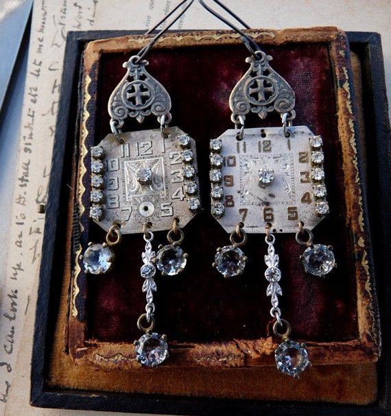 SOLD Listing:  Vintage Antique Watch Earrings, Time for the Sacred, by RusticGypsyCreations