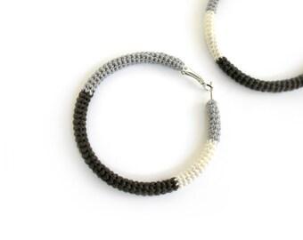 Hoop Style Crochet Tube Earrings Grey Brown Cream Simple Chic Hoops