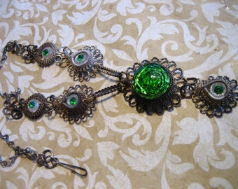 Vintage Filigree Link Egyptian Necklace Green Glass Foil Stone