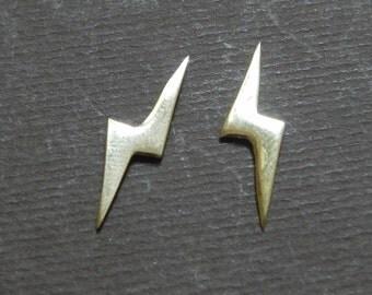 Lightning bolt 14K gold pierced earring studs