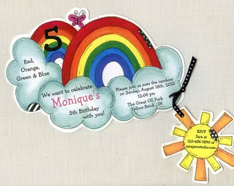 Personalized and Handcut Invitations - Birthday Party Invitations - Rainbow Birthday Party - set of 45