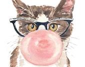 Cat Watercolor PRINT - 8x10 Painting, Bubble Gum, Cat Eye Glasses, Funny Watercolor