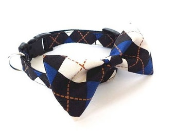 LAST ONE, 2 colors to choose from, Argyle classic, Dog cat pet Bow tie Collar dog argyle collar bowtie