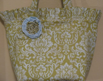Tote Bag, Green and Blue Damask
