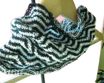 Chevron stripped hand knitted scarf, neck warmer, cowl