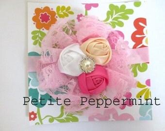Pink Baby headband,Pink Baby Flower Headband,Pink Toddler Headband,Pink Baby Girl Headband - Pink Flower Headband