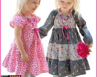 Astra Girls Dress Pattern 12m 12y + Free Mother-Daughter Apron pattern SEWING PATTERN Peasant Chidlren pattern pdf, toddler, baby