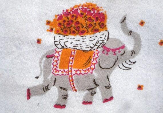 Heather Ross Munki Munki Flannel PJ leg panel elephants fabric
