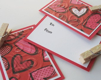 Valentine Clothespin Gift Tags:  Handmade 3 Pack Mini Set - Beloved