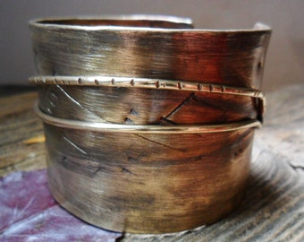 Brass Wide Mens or Womens Cuff Bracelet with Dark Patina and Two Wires, Simple Brass Cuff, Metal Cuff Bracelet