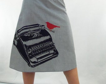 Typewriter Print Gray Skirt - Aline Cotton Skirt - Silk Screen Printed to Order