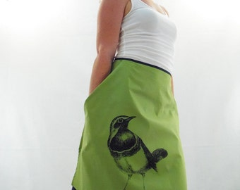 Half Apron With Pockets - Green with Bird Print - Silk Screen Printed to Order