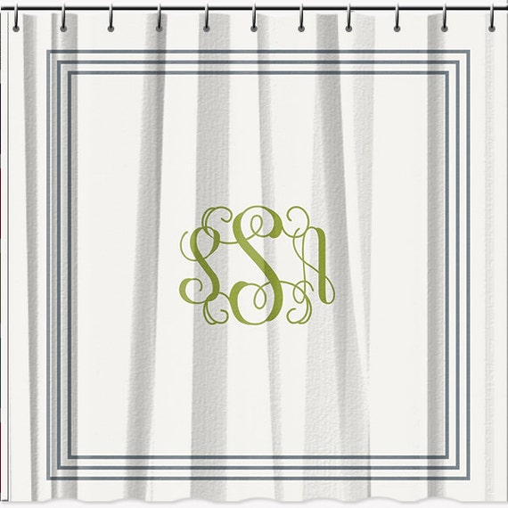 Classic Monogrammed Shower Curtain 70x70 By Limerikeedesigns